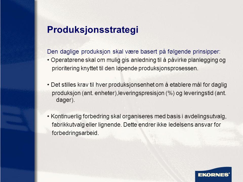 Produksjonsstrategi Den daglige produksjon skal være basert på følgende prinsipper:  Systemer for opplæring av medarbeidere skal videreutvikles for å oppnå økt fleksibilitet og produktivitet I produksjonen.