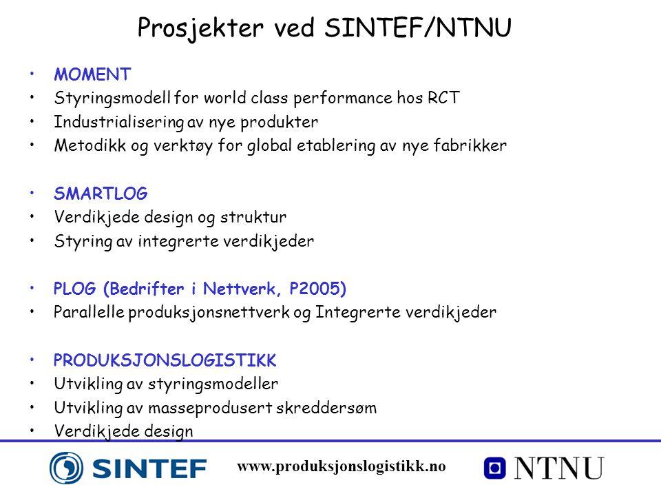 www.produksjonslogistikk.no Prosjekter ved SINTEF/NTNU MOMENT Styringsmodell for world class performance hos RCT Industrialisering av nye produkter Me