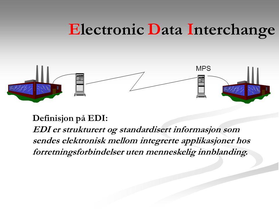 Electronic Data Interchange MPS Definisjon på EDI: EDI er strukturert og standardisert informasjon som sendes elektronisk mellom integrerte applikasjoner hos forretningsforbindelser uten menneskelig innblanding.