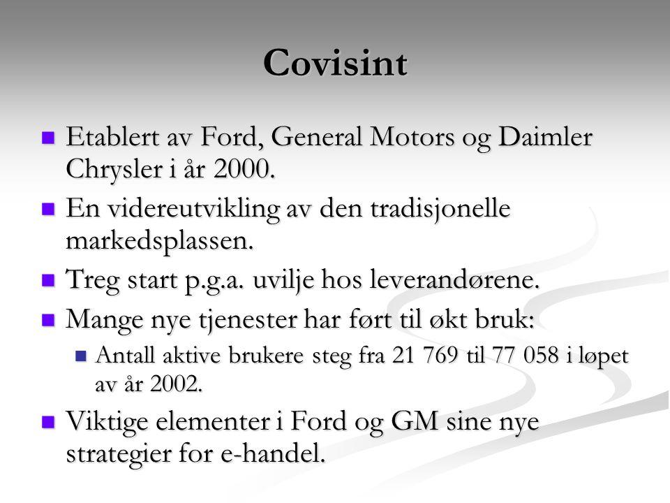 Covisint Etablert av Ford, General Motors og Daimler Chrysler i år 2000.