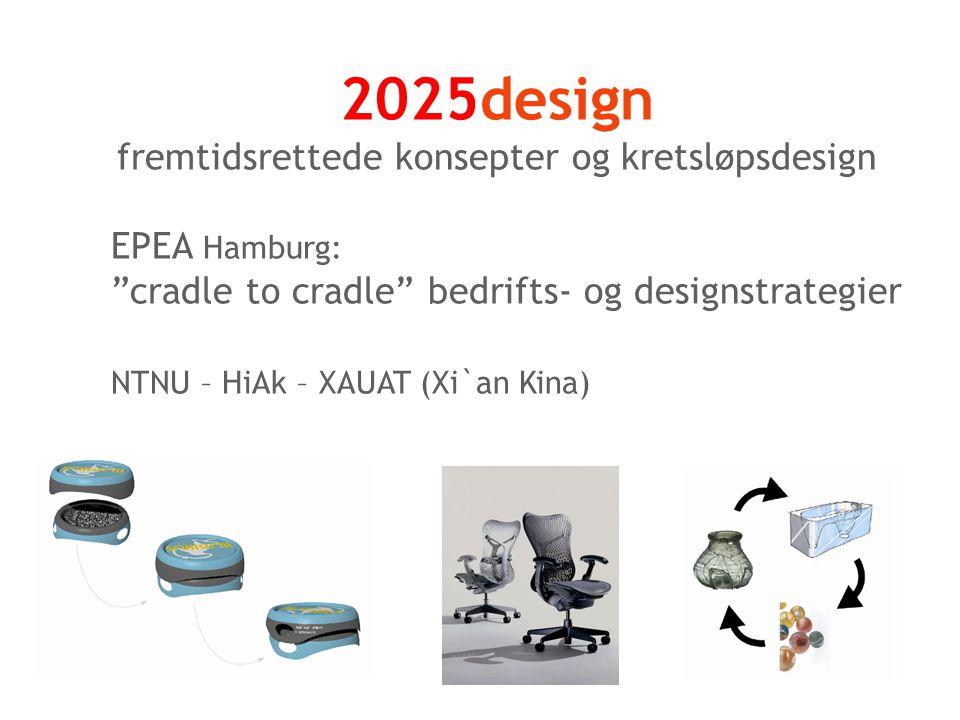 2025design fremtidsrettede konsepter og kretsløpsdesign EPEA Hamburg: cradle to cradle bedrifts- og designstrategier NTNU – HiAk – XAUAT (Xi`an Kina)