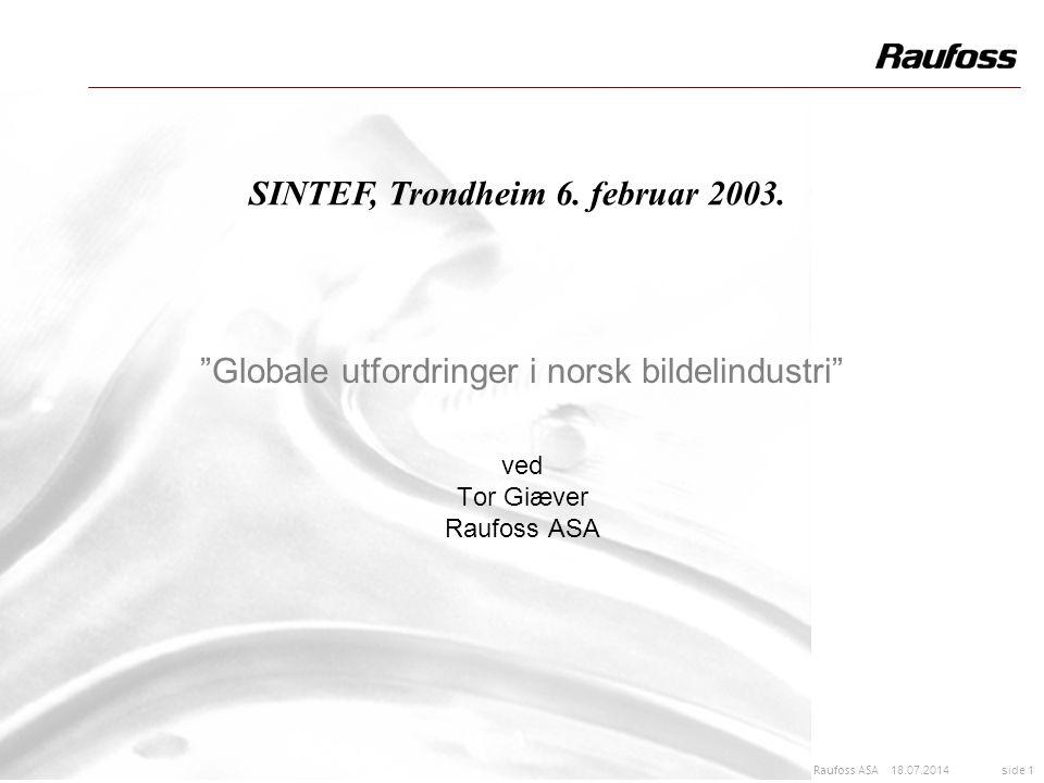 """18.07.2014 side 1 Raufoss ASA """"Globale utfordringer i norsk bildelindustri"""" ved Tor Giæver Raufoss ASA SINTEF, Trondheim 6. februar 2003."""