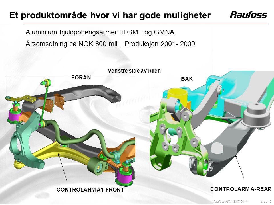 18.07.2014 side 10 Raufoss ASA Et produktområde hvor vi har gode muligheter Aluminium hjulopphengsarmer til GME og GMNA. Årsomsetning ca NOK 800 mill.