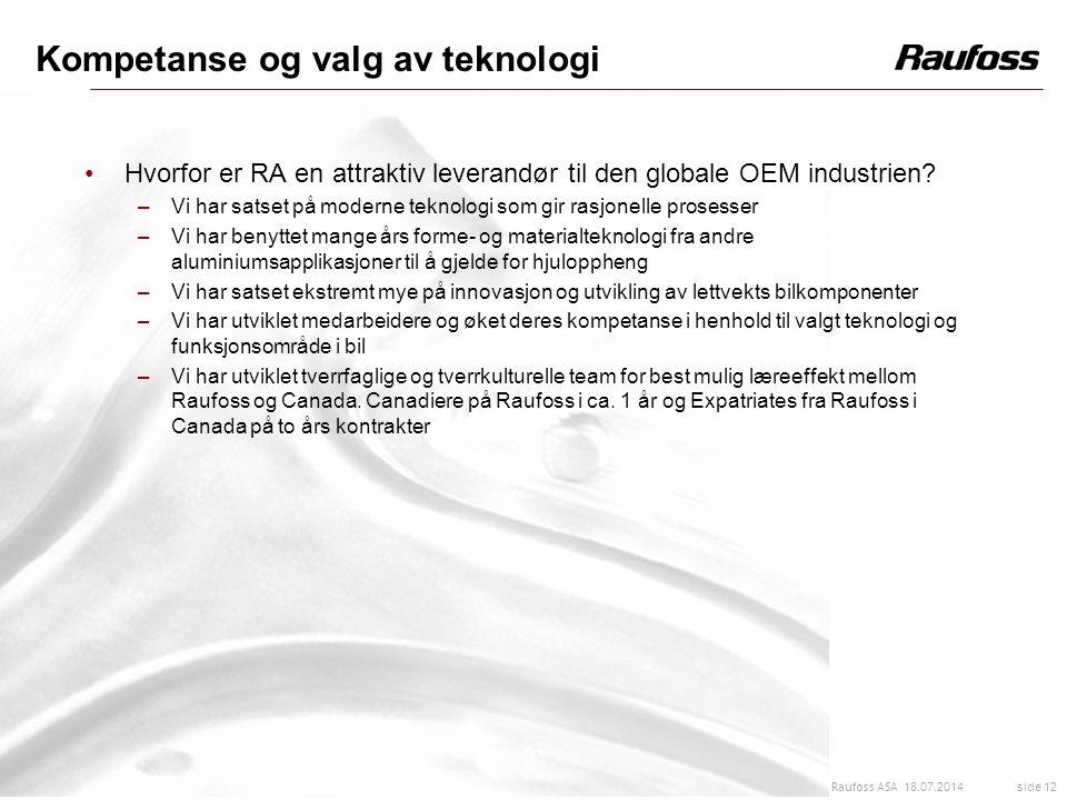 18.07.2014 side 12 Raufoss ASA Kompetanse og valg av teknologi Hvorfor er RA en attraktiv leverandør til den globale OEM industrien? –Vi har satset på