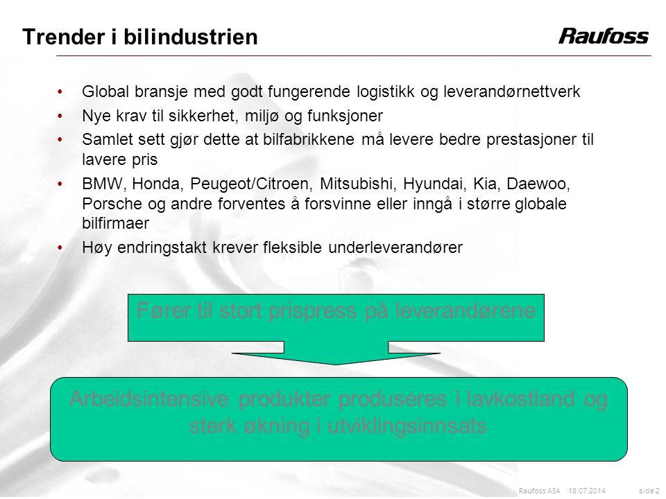 18.07.2014 side 2 Raufoss ASA Trender i bilindustrien Global bransje med godt fungerende logistikk og leverandørnettverk Nye krav til sikkerhet, miljø