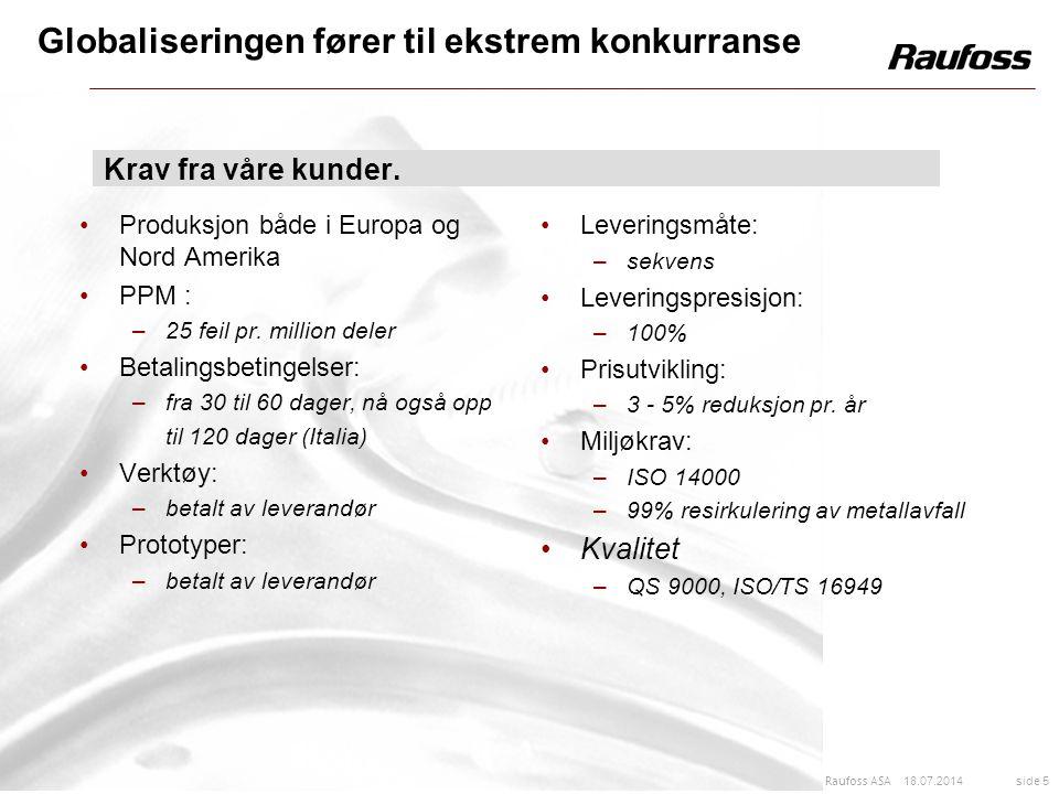 18.07.2014 side 5 Raufoss ASA Produksjon både i Europa og Nord Amerika PPM : –25 feil pr. million deler Betalingsbetingelser: –fra 30 til 60 dager, nå