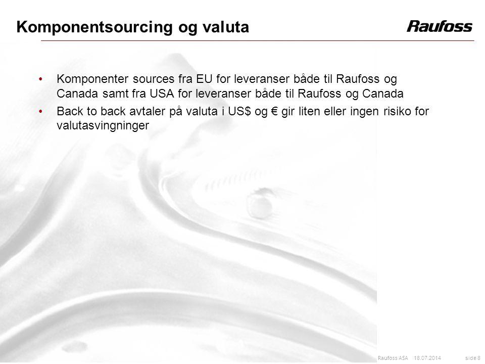 18.07.2014 side 8 Raufoss ASA Komponentsourcing og valuta Komponenter sources fra EU for leveranser både til Raufoss og Canada samt fra USA for levera