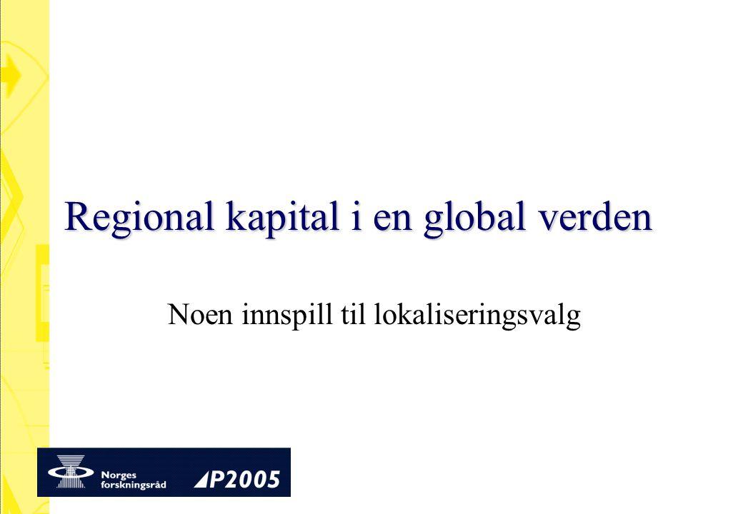Tema Globaliseringens bakgrunn To ulike perspektiver Regional kapital Hvilke spørsmål bør stilles.