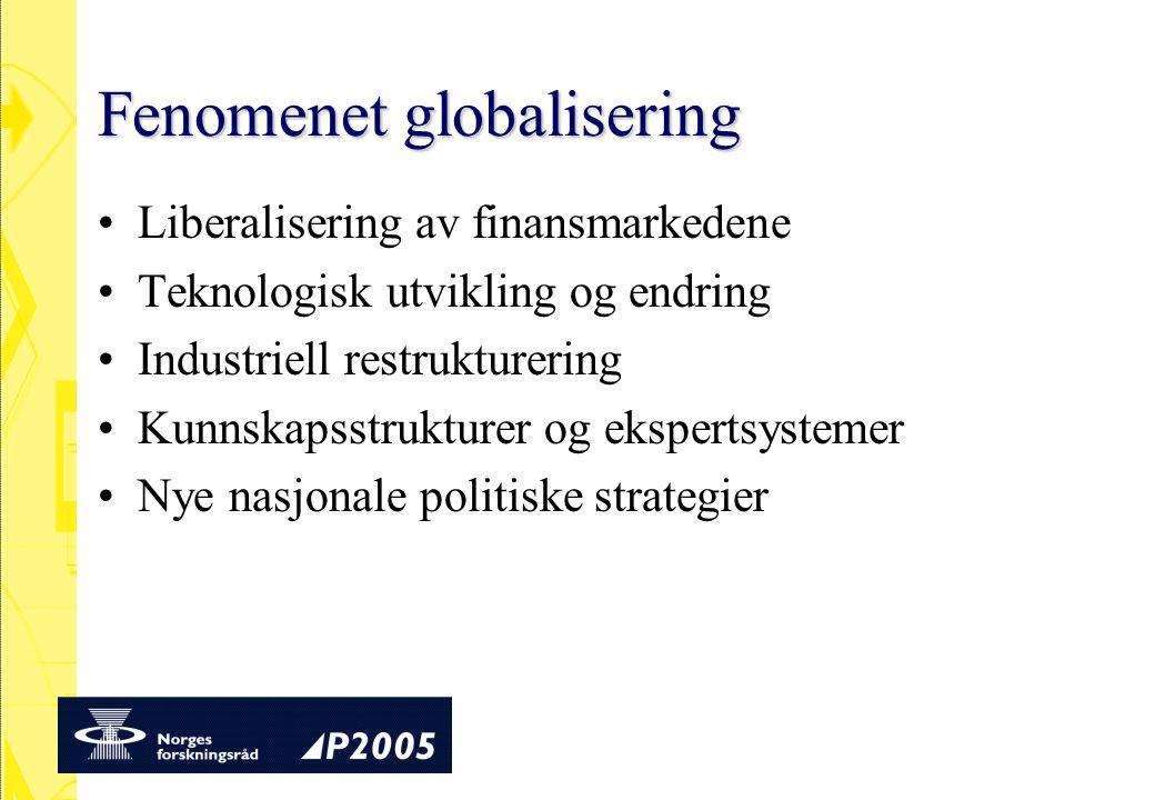Fenomenet globalisering Liberalisering av finansmarkedene Teknologisk utvikling og endring Industriell restrukturering Kunnskapsstrukturer og ekspertsystemer Nye nasjonale politiske strategier