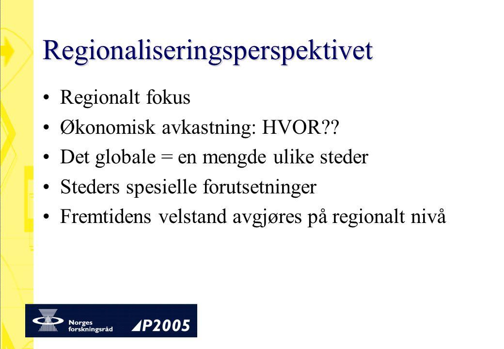 Regionaliseringsperspektivet Regionalt fokus Økonomisk avkastning: HVOR .