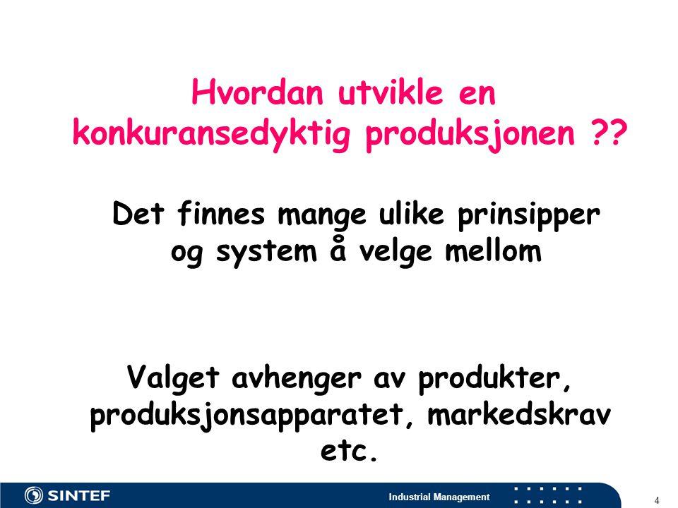 Industrial Management 4 Hvordan utvikle en konkuransedyktig produksjonen ?? Det finnes mange ulike prinsipper og system å velge mellom Valget avhenger
