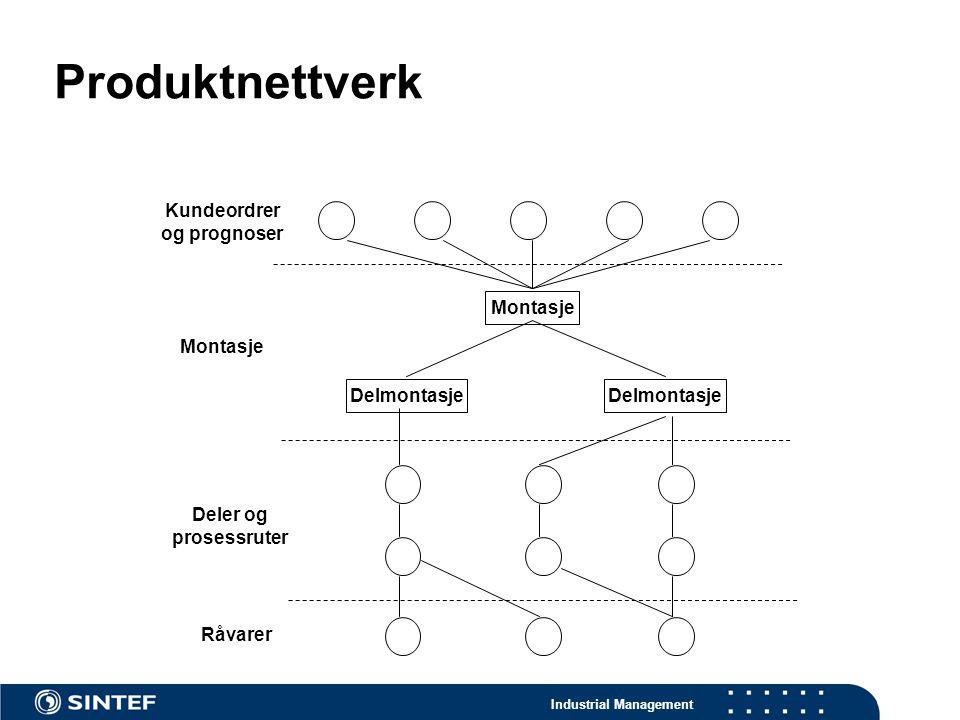 Industrial Management Produktnettverk Montasje Delmontasje Kundeordrer og prognoser Deler og prosessruter Montasje Råvarer