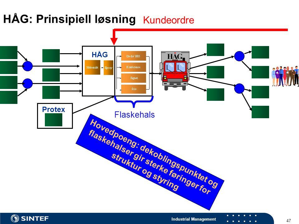 Industrial Management 47 HÅG: Prinsipiell løsning HÅG Protex Kundeordre Hovedpoeng: dekoblingspunktet og flaskehalser gir sterke føringer for struktur