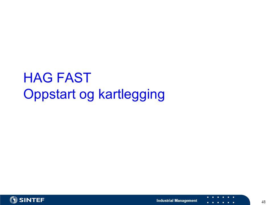 Industrial Management 48 HAG FAST Oppstart og kartlegging