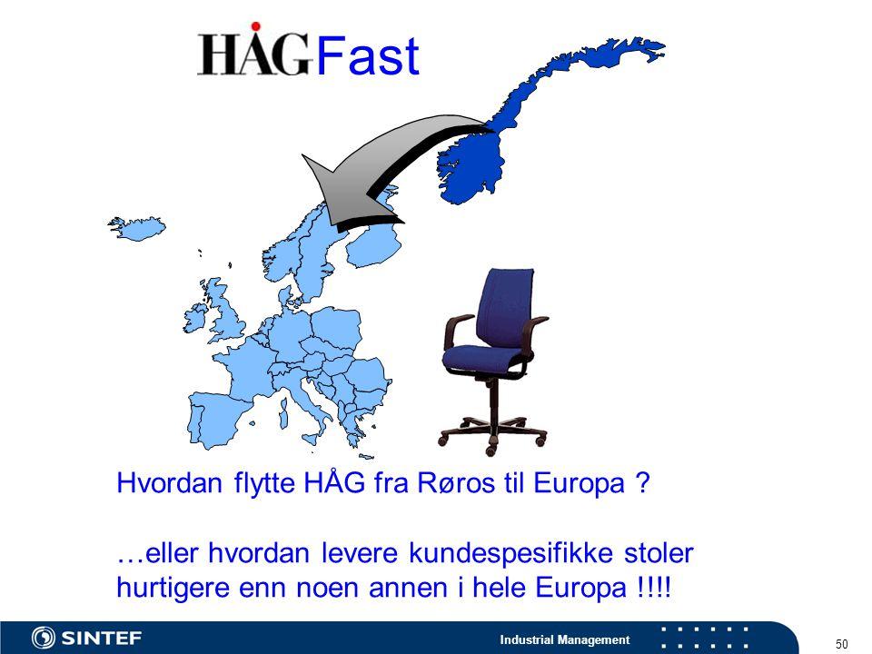 Industrial Management 50 Hvordan flytte HÅG fra Røros til Europa ? …eller hvordan levere kundespesifikke stoler hurtigere enn noen annen i hele Europa