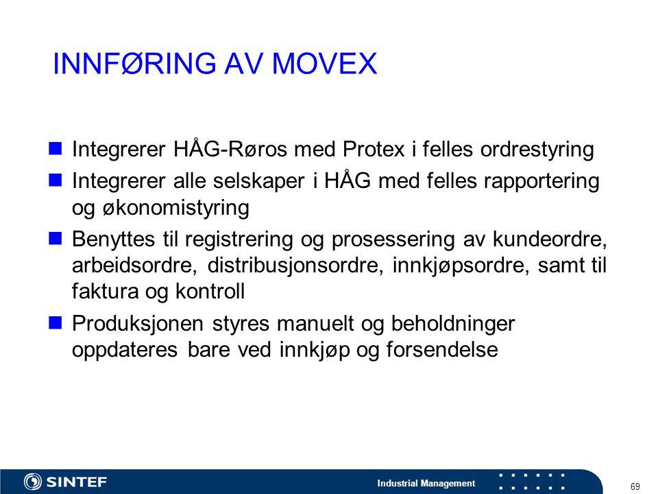 Industrial Management 69 INNFØRING AV MOVEX Integrerer HÅG-Røros med Protex i felles ordrestyring Integrerer alle selskaper i HÅG med felles rapporter