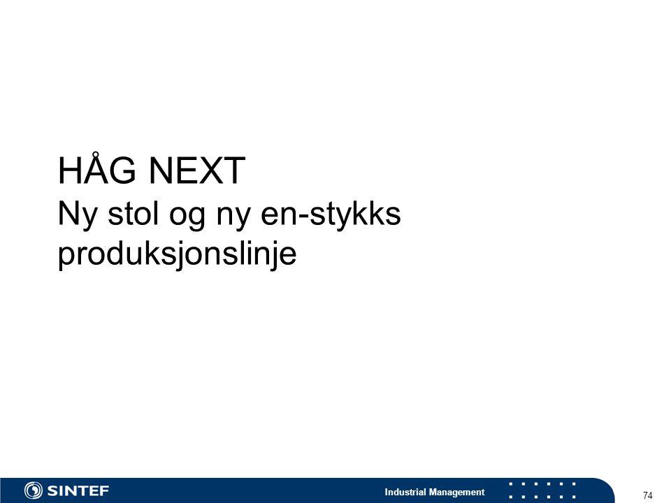 Industrial Management 74 HÅG NEXT Ny stol og ny en-stykks produksjonslinje