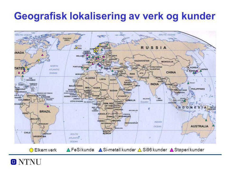 Geografisk lokalisering av verk og kunder Elkem verk FeSi kundeSi-metall kunderSi96 kunderStøperi kunder