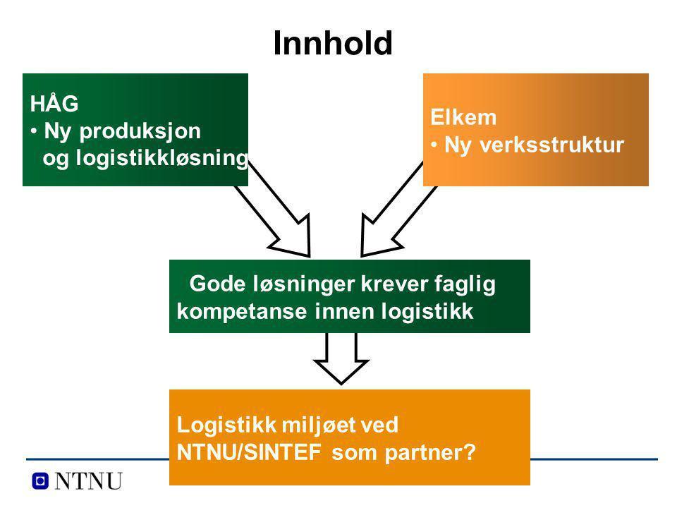 HÅG Ny produksjon og logistikkløsning Elkem Ny verksstruktur Logistikk miljøet ved NTNU/SINTEF som partner? Gode løsninger krever faglig kompetanse in