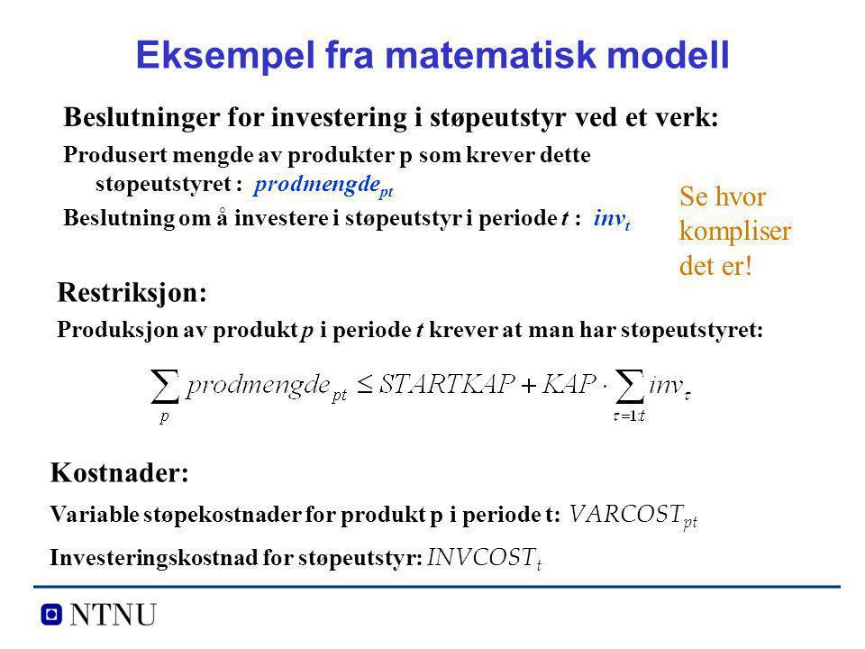 Eksempel fra matematisk modell Beslutninger for investering i støpeutstyr ved et verk: Produsert mengde av produkter p som krever dette støpeutstyret