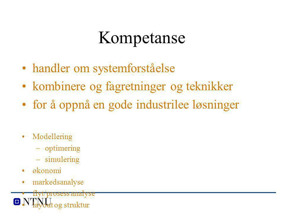 Kompetanse handler om systemforståelse kombinere og fagretninger og teknikker for å oppnå en gode industrilee løsninger Modellering –optimering –simul