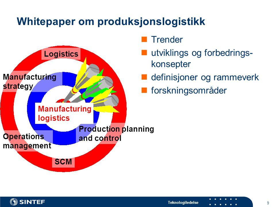 Teknologiledelse 9 Whitepaper om produksjonslogistikk Trender utviklings og forbedrings- konsepter definisjoner og rammeverk forskningsområder Manufac