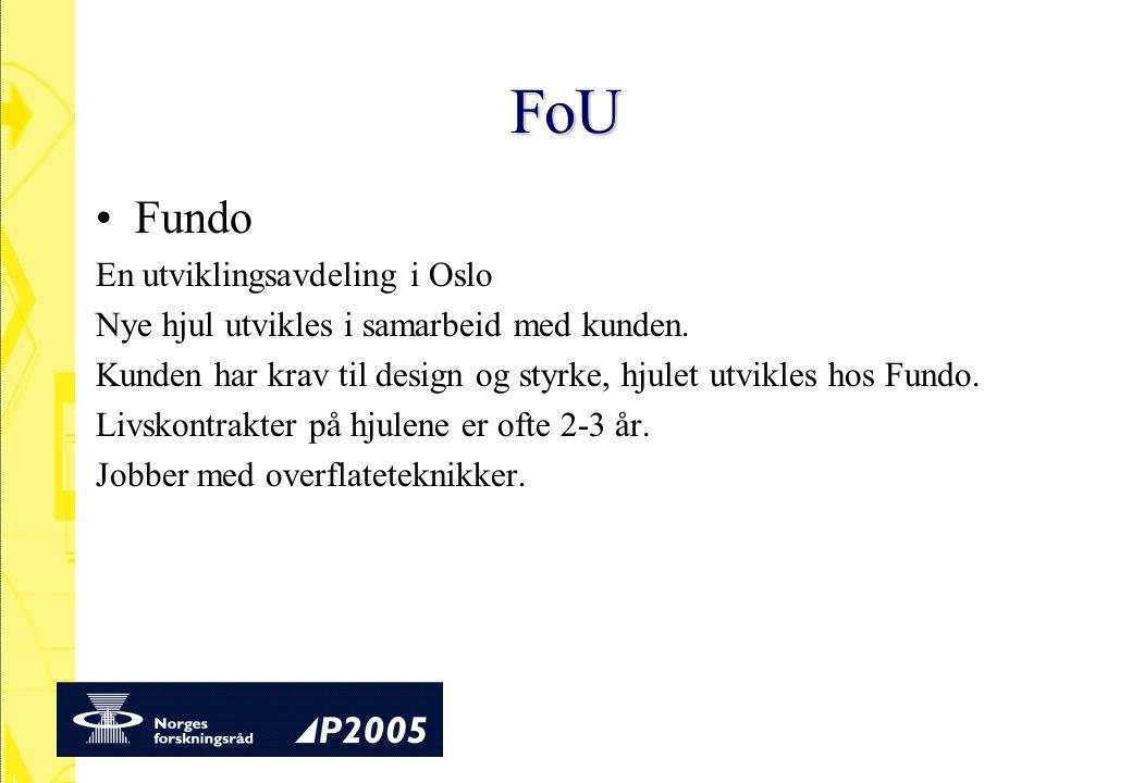FoU Fundo En utviklingsavdeling i Oslo Nye hjul utvikles i samarbeid med kunden. Kunden har krav til design og styrke, hjulet utvikles hos Fundo. Livs
