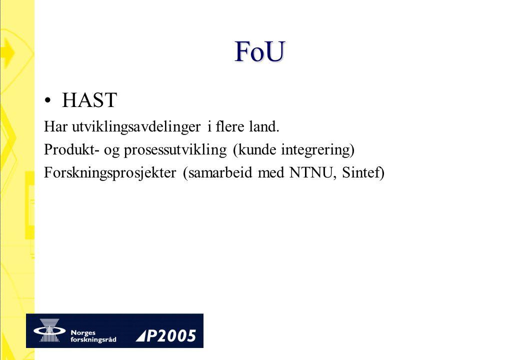 FoU HAST Har utviklingsavdelinger i flere land. Produkt- og prosessutvikling (kunde integrering) Forskningsprosjekter (samarbeid med NTNU, Sintef)