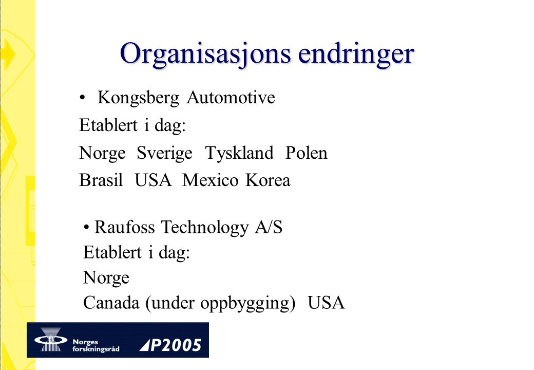 Organisasjons endringer Kongsberg Automotive Etablert i dag: Norge Sverige Tyskland Polen Brasil USA Mexico Korea Raufoss Technology A/S Etablert i dag: Norge Canada (under oppbygging) USA