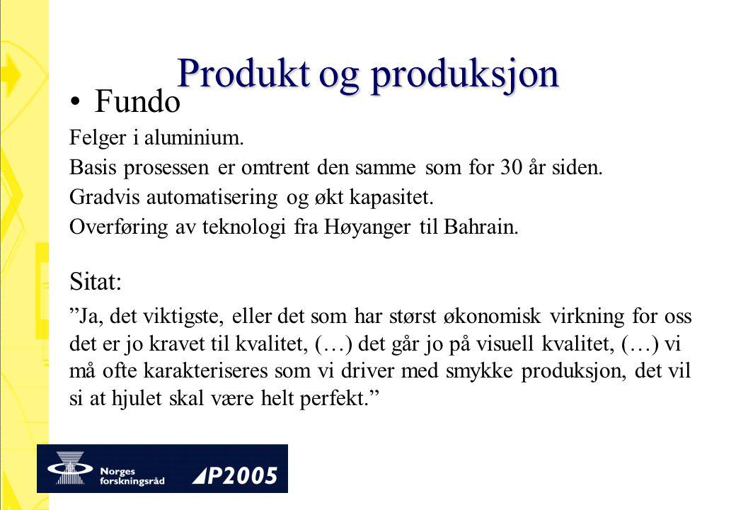 Produkt og produksjon Fundo Felger i aluminium. Basis prosessen er omtrent den samme som for 30 år siden. Gradvis automatisering og økt kapasitet. Ove