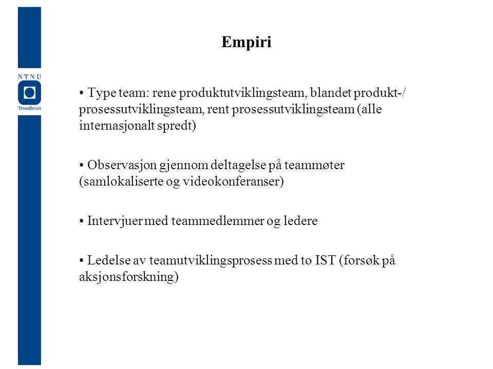 Empiri Type team: rene produktutviklingsteam, blandet produkt-/ prosessutviklingsteam, rent prosessutviklingsteam (alle internasjonalt spredt) Observa