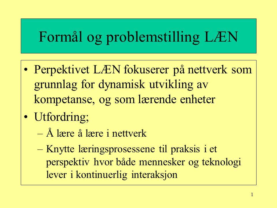 1 Formål og problemstilling LÆN Perpektivet LÆN fokuserer på nettverk som grunnlag for dynamisk utvikling av kompetanse, og som lærende enheter Utford
