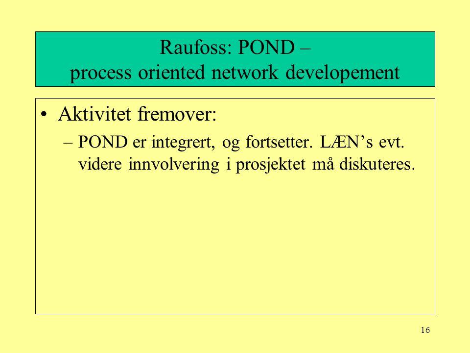 16 Raufoss: POND – process oriented network developement Aktivitet fremover: –POND er integrert, og fortsetter. LÆN's evt. videre innvolvering i prosj
