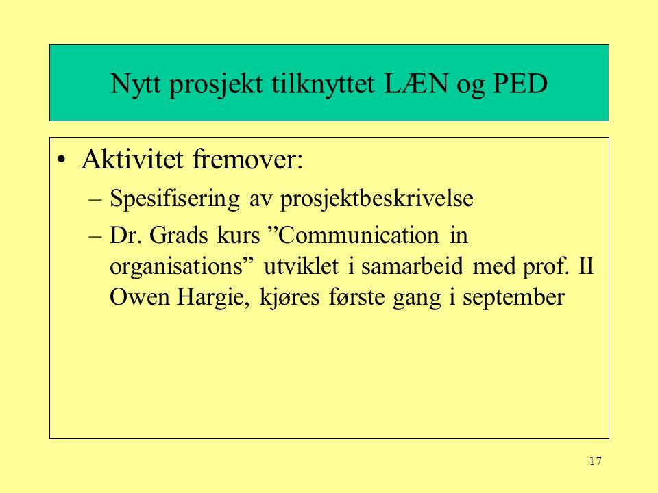 """17 Nytt prosjekt tilknyttet LÆN og PED Aktivitet fremover: –Spesifisering av prosjektbeskrivelse –Dr. Grads kurs """"Communication in organisations"""" utvi"""