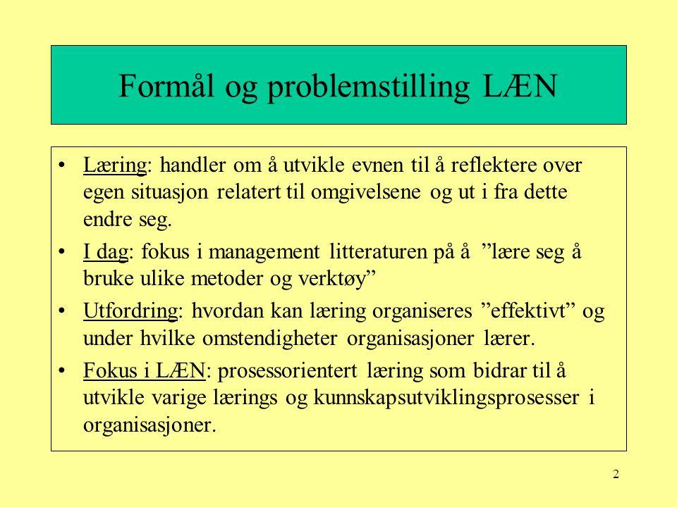2 Formål og problemstilling LÆN Læring: handler om å utvikle evnen til å reflektere over egen situasjon relatert til omgivelsene og ut i fra dette end