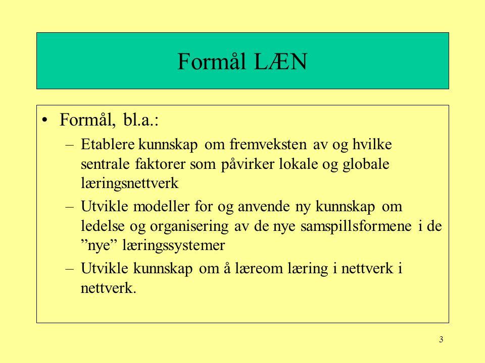 3 Formål LÆN Formål, bl.a.: –Etablere kunnskap om fremveksten av og hvilke sentrale faktorer som påvirker lokale og globale læringsnettverk –Utvikle m