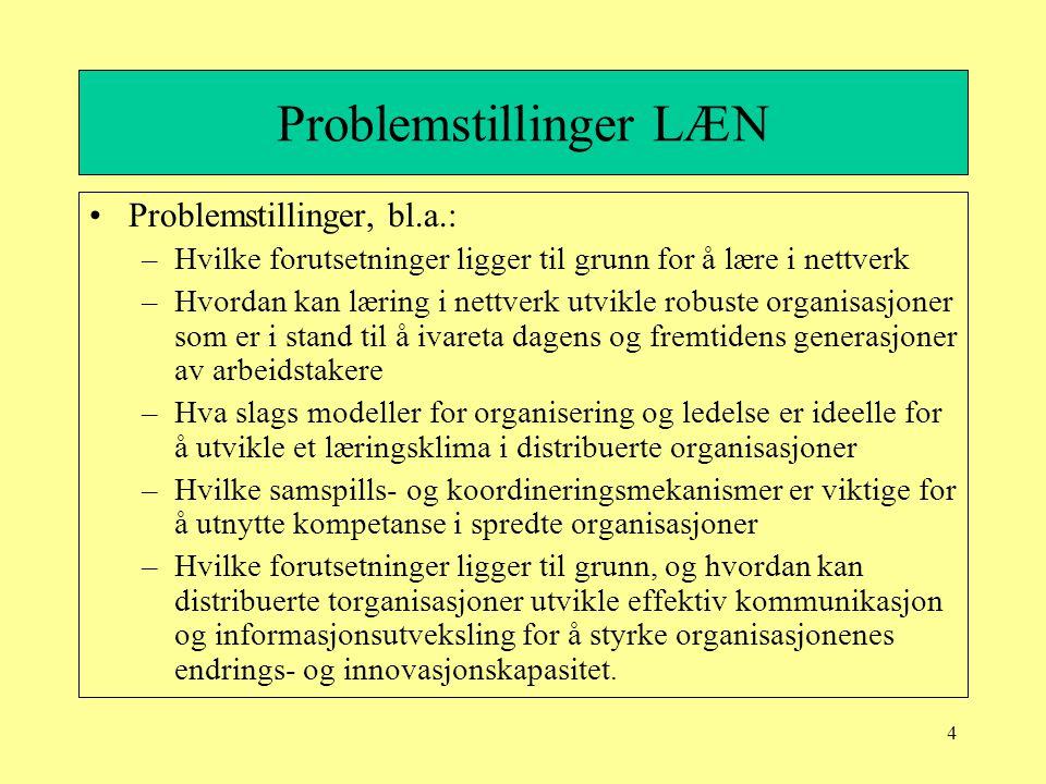 4 Problemstillinger LÆN Problemstillinger, bl.a.: –Hvilke forutsetninger ligger til grunn for å lære i nettverk –Hvordan kan læring i nettverk utvikle