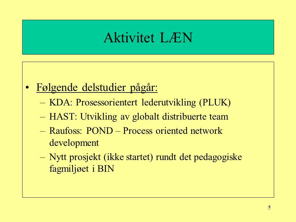 16 Raufoss: POND – process oriented network developement Aktivitet fremover: –POND er integrert, og fortsetter.