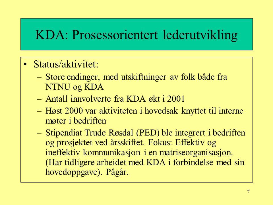 7 KDA: Prosessorientert lederutvikling Status/aktivitet: –Store endinger, med utskiftninger av folk både fra NTNU og KDA –Antall innvolverte fra KDA ø