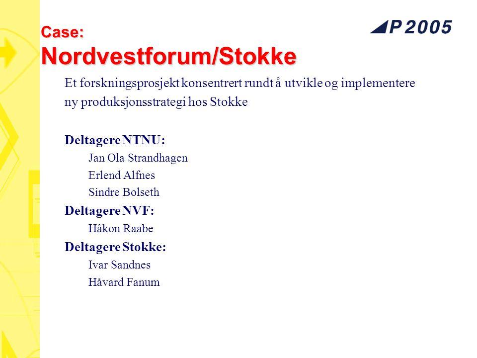 Case: Nordvestforum/Stokke Et forskningsprosjekt konsentrert rundt å utvikle og implementere ny produksjonsstrategi hos Stokke Deltagere NTNU: Jan Ola