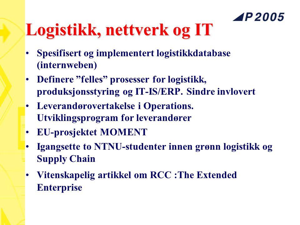 """Logistikk, nettverk og IT Spesifisert og implementert logistikkdatabase (internweben) Definere """"felles"""" prosesser for logistikk, produksjonsstyring og"""