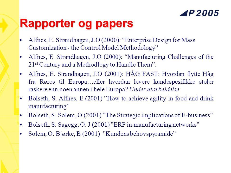 "Rapporter og papers Alfnes, E. Strandhagen, J.O (2000): ""Enterprise Design for Mass Customization - the Control Model Methodology"" Alfnes, E. Strandha"