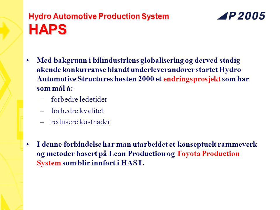 Hydro Automotive Production System HAPS Med bakgrunn i bilindustriens globalisering og derved stadig økende konkurranse blandt underleverandører start