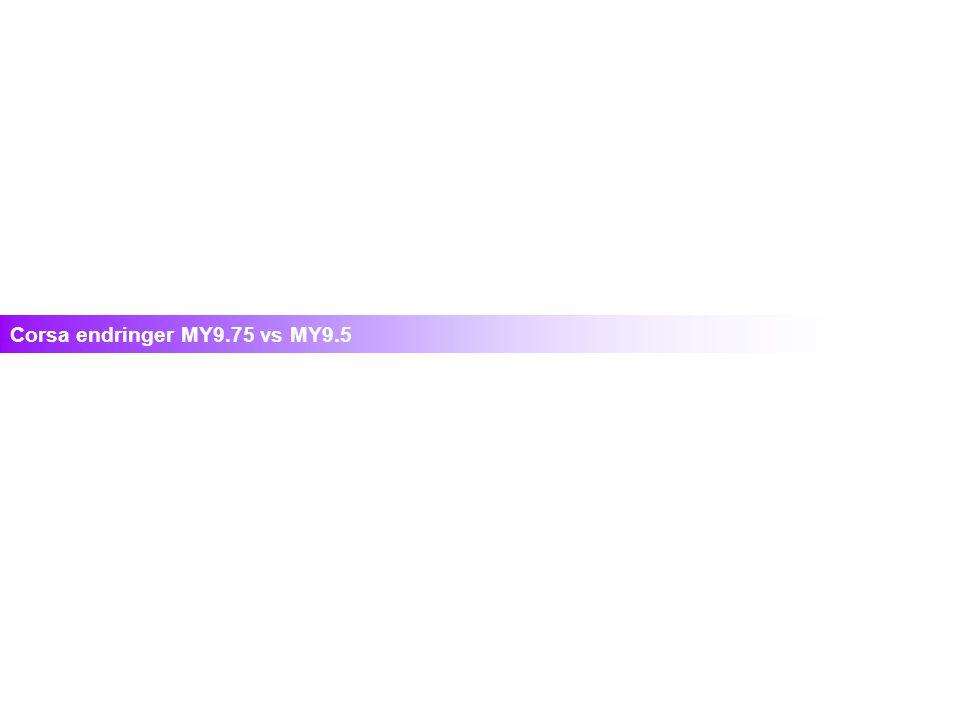 Corsa endringer MY9.75 vs MY9.5