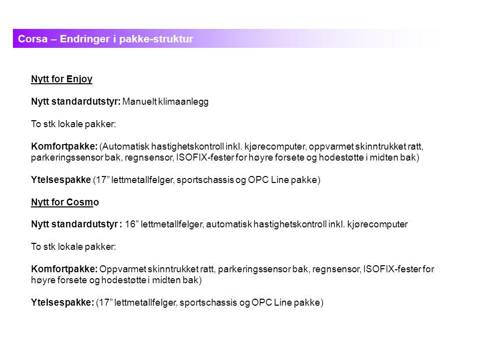 Nytt for Enjoy Nytt standardutstyr: Manuelt klimaanlegg To stk lokale pakker: Komfortpakke: (Automatisk hastighetskontroll inkl.