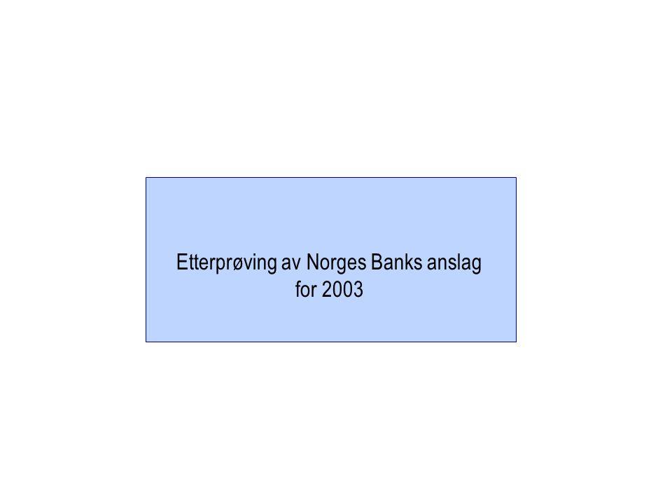 Etterprøving av Norges Banks anslag for 2003
