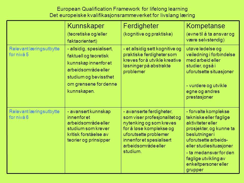 European Qualification Framework for lifelong learning Det europeiske kvalifikasjonsrammeverket for livslang læring - forvalte komplekse tekniske eller faglige aktiviteter eller prosjekter, og kunne ta beslutninger i uforutsette arbeids- eller studiesituasjoner - ta medansvar for den faglige utvikling av enkeltpersoner eller grupper - avanserte ferdigheter, som viser profesjonalitet og nytenking og som kreves for å løse komplekse og uforutsette problemer innenfor et spesialisert arbeidsområde eller studium.