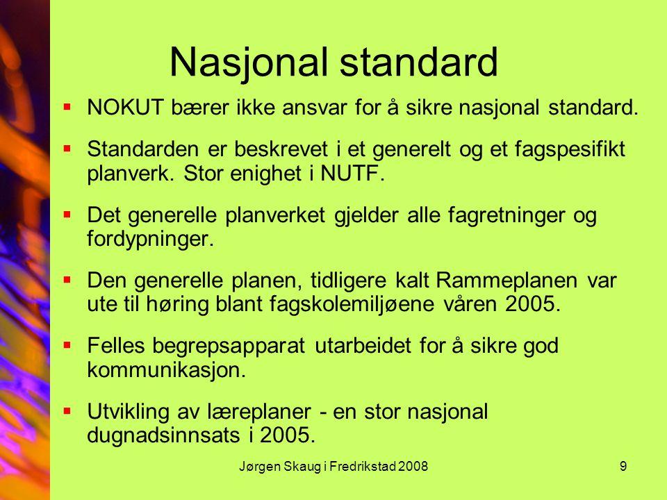 Jørgen Skaug i Fredrikstad 20089 Nasjonal standard  NOKUT bærer ikke ansvar for å sikre nasjonal standard.