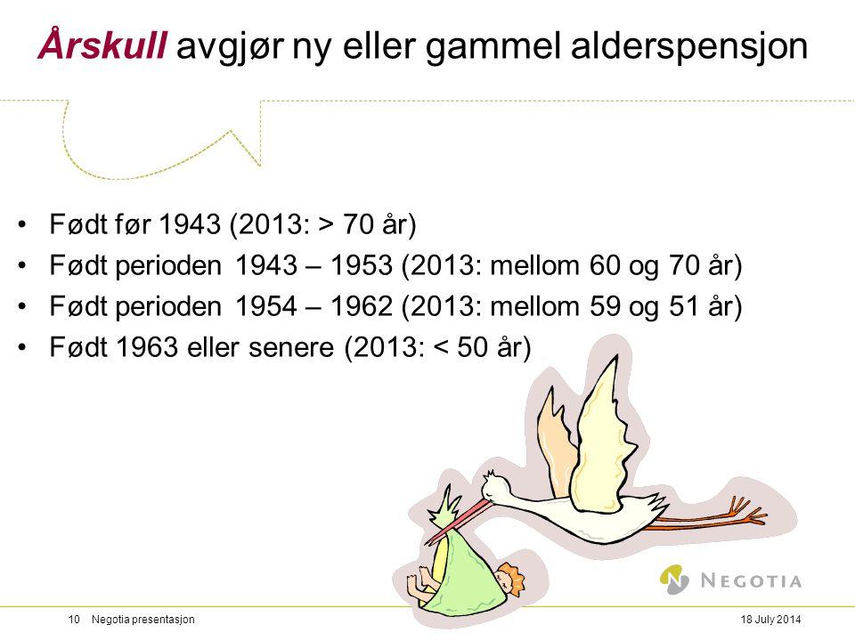 18 July 201410 Negotia presentasjon Årskull avgjør ny eller gammel alderspensjon Født før 1943 (2013: > 70 år) Født perioden 1943 – 1953 (2013: mellom
