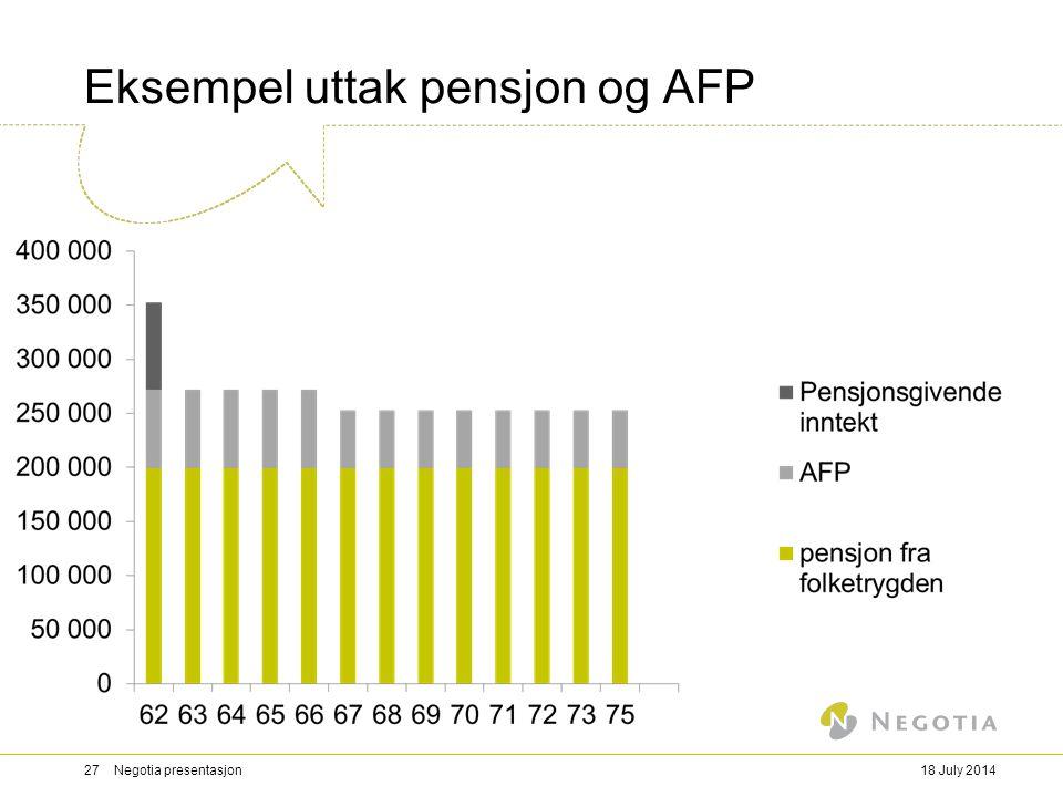 Eksempel uttak pensjon og AFP 18 July 201427 Negotia presentasjon